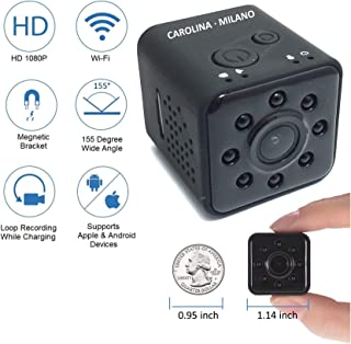 Mini Hidden Spy Camera Wireless Security Camera Nanny Camera with Infrared Night Vision Loop Recording Full HD 1080P 155 Wide Angle Waterproof 98ft DV Camcorder Mini Sports Action Camera Indoor WiFi