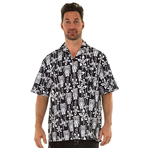 3a9e315e UZZI Men's Tiki Hawaiian Shirt