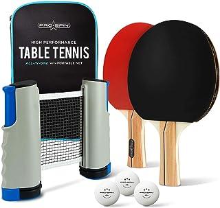 comprar comparacion PRO SPIN - Juego de ping pong portátil para cualquier mesa, 2 palas de ping pong, 3 bolas blancas de 3 estrellas, caja de ...