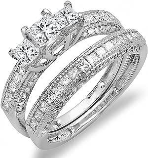 Dazzlingrock Collection 1.00 Carat (ctw) 14K Gold Princess and Round Diamond Ladies Engagement Ring Wedding Set 1 CT