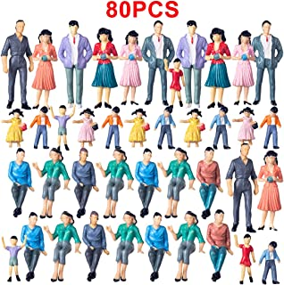 Yamix 80Pcs Model Trains Architectural 1:25 Scale Painted Figures G Scale Sitting and Standing People for Model Railway Trains Garden Railroad