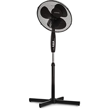 """LIVIVO Electric 16"""" Pedestal Fan – Powerful Free Standing Oscillating and Tilting 50W Height Adjustable Rotating Stand Tower Fan Mesh Safety Grill (Black)"""