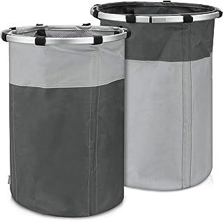 Navaris Set de 2 cestos rígidos para Ropa Sucia - 2X Cesta para la Colada con 49L de Capacidad y cordón de Cierre - 2 cestos para Lavar la Ropa