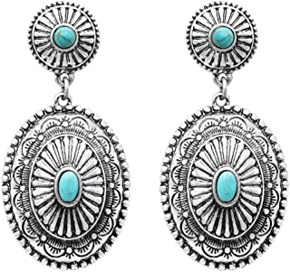 Rosemarie Collections Women's Southwestern Concho Style Turquoise Dangle Drop Statement Earrings