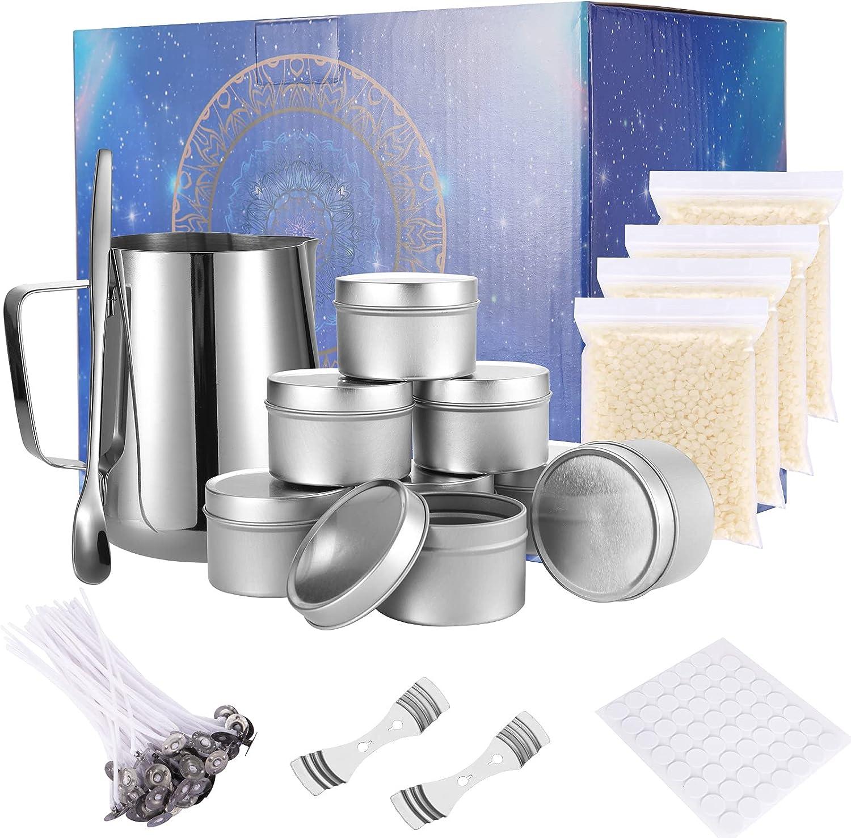 UIHOL Kit de Fabricación para Velas, DIY Juego de Regalo para Velas, Erramienta para Velas de Bricolaje, Incluye Cera de Soja, Mechas de Vela, Crisol, Latas, Tintes, Cuchara