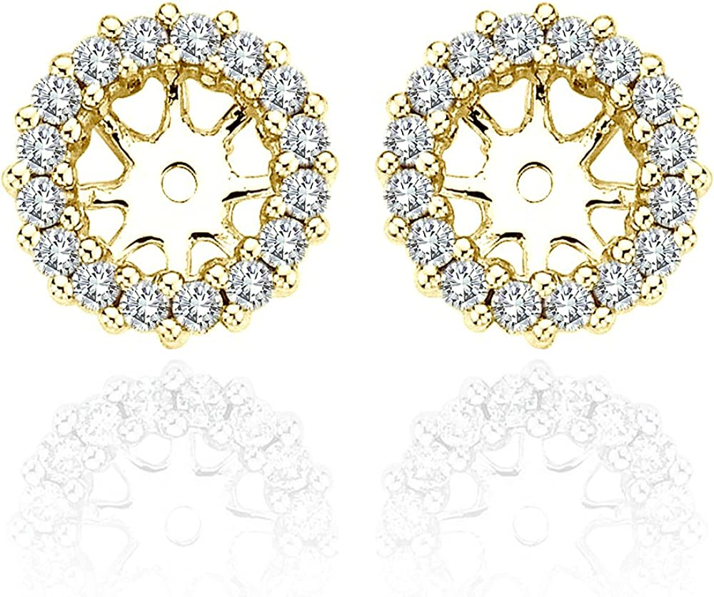 1.82 Carat White Diamond Earrings Jackets For 8.70 MM(5.00 Carat Total Weight) 14K Yellow Gold Halo Stud Solitaire