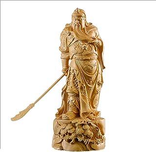 YYfashion [金品木彫] 風水 魔除け ツゲの木彫り 三国志 忠義 関雲長 木製彫刻 〔サイズ:11/19/22cm〕