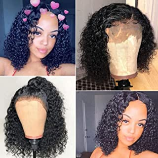 """4x4 Lace bob Wigs 150% Density Brazilian 12"""" Remy Hair Can Be Dyed Human Hair Lace Front Wigs Pre-Cut Bleached Brazilian Curly Short Bob Wigs for Black Women"""