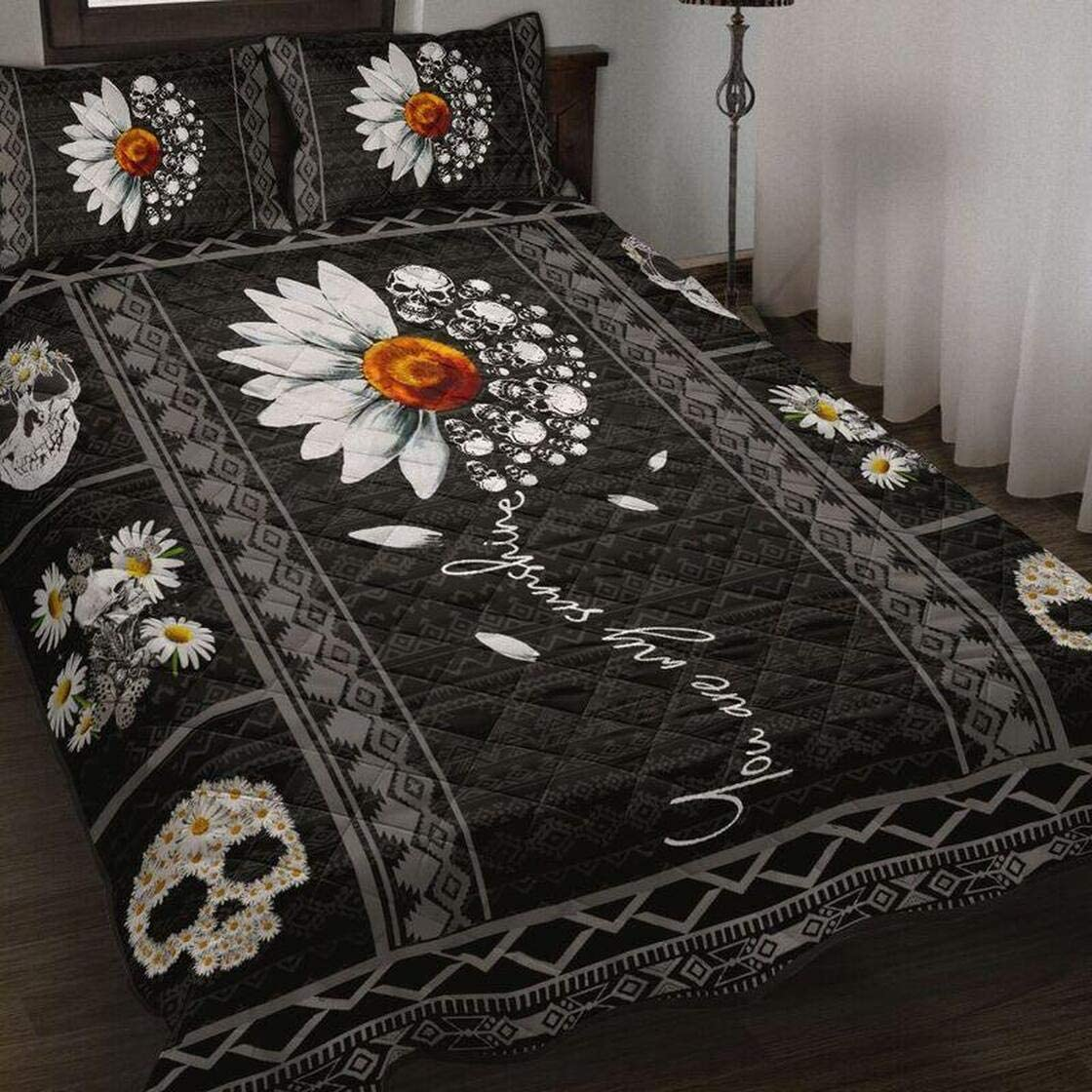 Personalized Skull 70% OFF Outlet Daisy Quilt Bedding Boys Gi Set High quality Kids Birthday