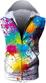 Unisex Sleeveless Print Zipper Hoodie Tank Tops