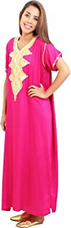 Moroccan Caftan Handmade Light Weight Cotton Hand Embroidery Andalusia Fits SMALL to MEDIUM Magenta