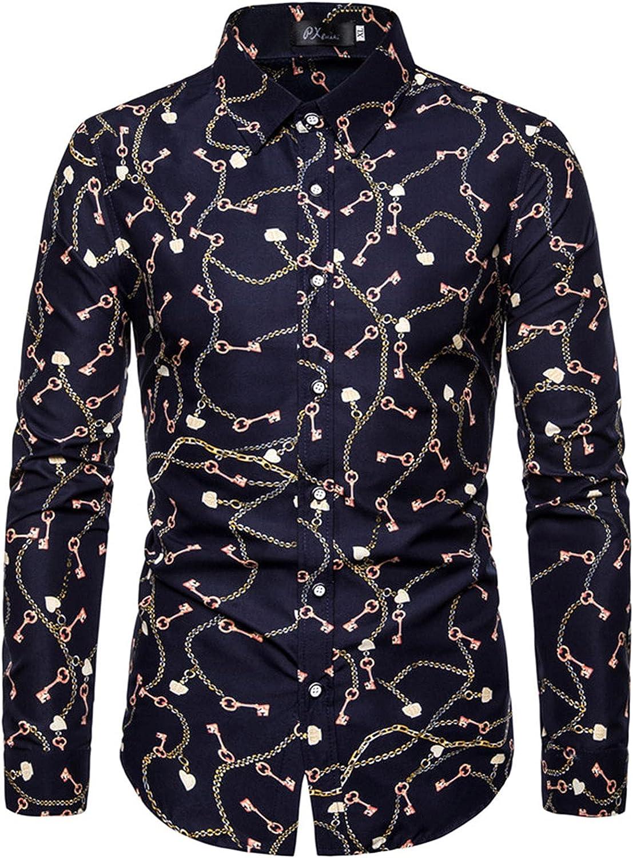 DZQUY Mens Long Sleeve Fashion Plaid Print Dress Shirt Casual Slim Fit Vintage Business Lapel Collar Button Down Shirts