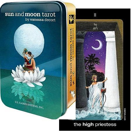 【想像が広がるやわらかいデザイン】 サン・アンド・ムーン・タロット(缶入り)日本語解説書付き Sun and Moon in a Tin