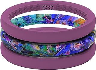 Groove Life سيليكون خاتم زفاف للنساء - خواتم مطاطية مسامية للنساء، تغطية مدى الحياة، تصميم فريد، خاتم نسائي مريح - هواء رقيق