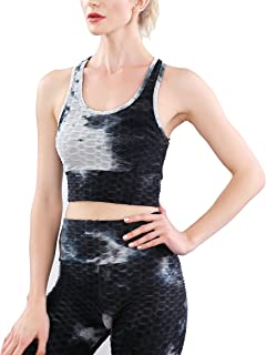 Women's Workout Sets 2 Piece Tie Dye Outfits Knit High Waist Yoga Leggings with Sport Bra Tracksuits Set