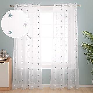 Deconovo Visillos para Ventanas Gasa Efecto Lino Cortina Transparente para Habitación Bebe Infantil 2 Paneles 140 x 229 cm Azul Verde