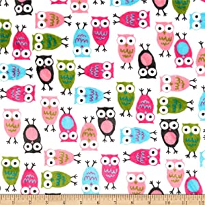 Robert Kaufman Minky Cuddle Night Owls Fabric by The Yard, Fuchsia