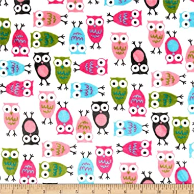Robert Kaufman Minky Cuddle Night Owls Fabric by The Yard, Fuchsia