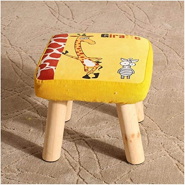 Carl Artbay Wooden Footstool Yellow Giraffe Pattern Square Stool Small Bench Shoe Short Stool Solid Wood Fabric Home