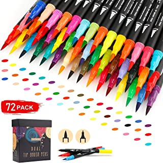 GC 72 Colors Dual Tip Brush Pens Highlighter 72 Art Markers 0.4mm Fine liners & Brush Tip Watercolor Pen Set for Adult and kids Coloring Books, Calligraphy, Hand Lettering, Note Taking
