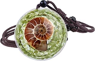 TUMBEELLUWA Healing Orgonite Crystal Necklace for Women and Men Energy Ammonite Fossil Tumbled Stones Amulet Pendant With ...