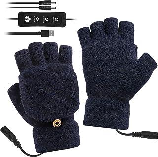 Eurobuy USB uppvärmda handskar vantar för kvinnor män, stickad ull uppvärmda handskar, fulla och halva händer fingerlösa v...
