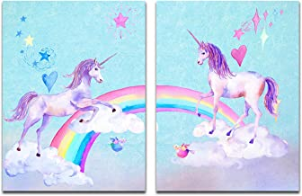 Purple Verbena Art Lovely Unicorns with Rainbow Birds Blue Sky Pictures Christmas Wall Décor Watercolor Painting Canvas Print Art for Living Room Kid's Bedroom Dorm Decoration Gift,2pcs Framed,12x16