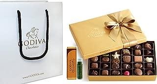 Godiva Chocolatier Gold Ballotin Classic Gold Ribbon, 36 Pieces with Gold Solid Milk Chocolate Bar, Godiva Gift Bag and a Jarosa Chocolate Bliss Lip Balm