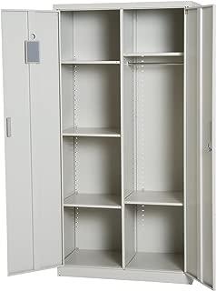 "HOMCOM 71"" Cold Rolled Steel Lockable Garage Storage Cabinet with Shelves - Cream White"