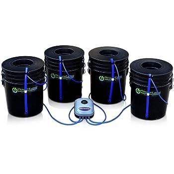 "Deep Water Culture (DWC) Hydroponic Bubbler Bucket Kit by PowerGrow Systems (4) 5 Gallon - 6"" Buckets"
