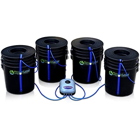 "Deep Water Culture (DWC) Hydroponic Bubbler Bucket Kit by PowerGrow Systems (4) 5 Gallon - 6"" Buckets"