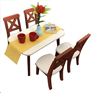 Inusitus DIY Dollhouse Dinning Room Kit   Table and (4) Chairs   Miniature Furniture   Dolls House Kits   Requires Assembly   1/18 Scale (Dining-4-Chairs)