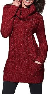Women Asymmetric Buttoned Cable Knit Bodycon Mini Sweater Dress Jumper