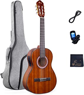 3/4 Size Nylon-string Classical Electric Acoustic Guitar for Travel Beginners Students Kids Build-in Pickup Kit Set, 36 Inches