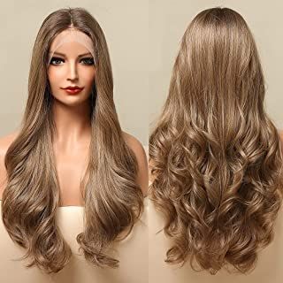 Light Brown Lace Front Wigs HAIRCUBE Long Curly Wave Middle Parting Natural Hair Line Synthetic Wigs for Women Heat Resist...