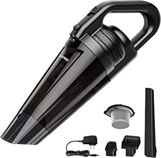Portable Handheld Vacuum Cordless Cleaner, Powerful Cyclonic Suction Vacuum Cleaner, Built in 2600mAh Rechargeable Lithium Battery, Lightweight Wet Dry Vacuum for Home Car Pet Hair Cleaning – Black