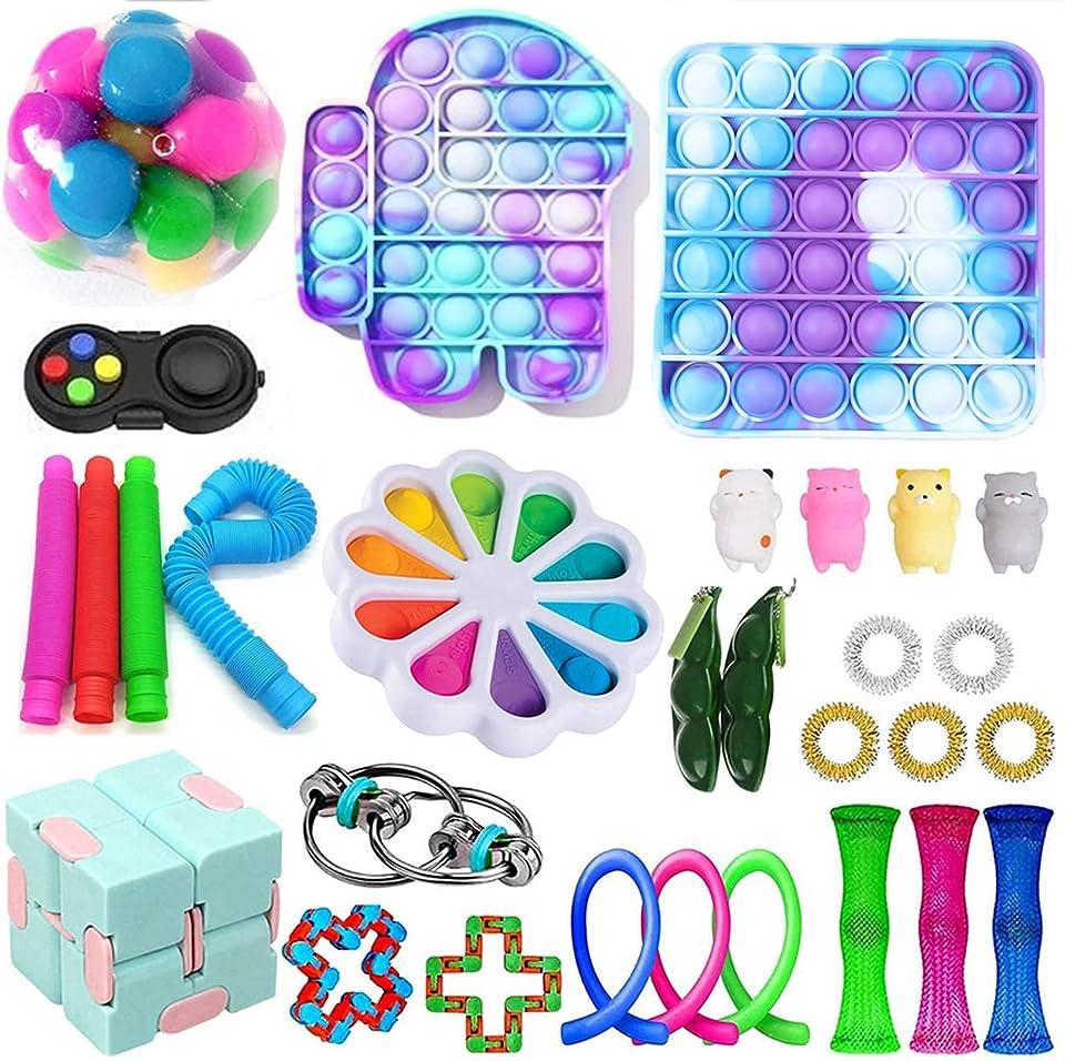 Nokiwiqis Fidget Toys Pack, Fidget Toy Sets Fidget Pack Cheap, Simple Dimple Fidget, Push Bubble Fidget Sensory Toy for Kids Adults