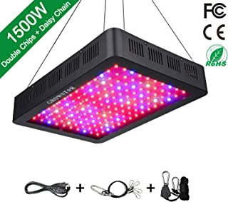 1500W LED Grow Light, Growstar Double Chips LED Grow Lamp Full Spectrum for Hydroponic Indoor Plants Flower and Veg with UV IR Daisy Chain (12-Band)