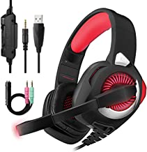 PHOINIKAS H9 Wired Stereo Gaming Headset, PS4 Xbox One, Over Ear Headphones with Noise Isolating Mic, LED Light, Volume Control for Laptop, PC, Tablet(Red)