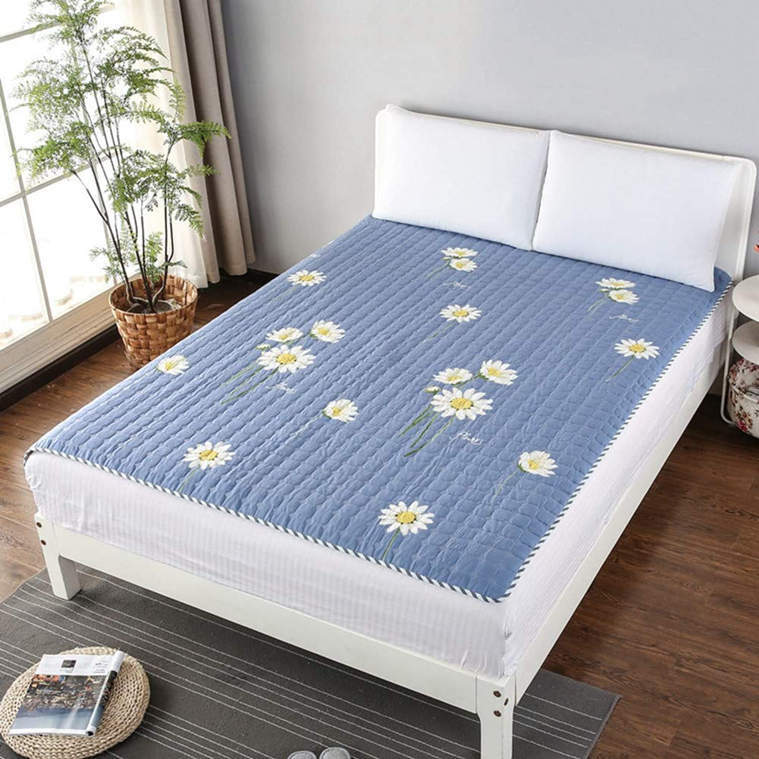 Cotton Breathable Mattress pad,Soft Non-Slip Portable Quilted Tatami Cooling Mattress Topper Student Dormitory-V Full 120x200cm(47x79inch)