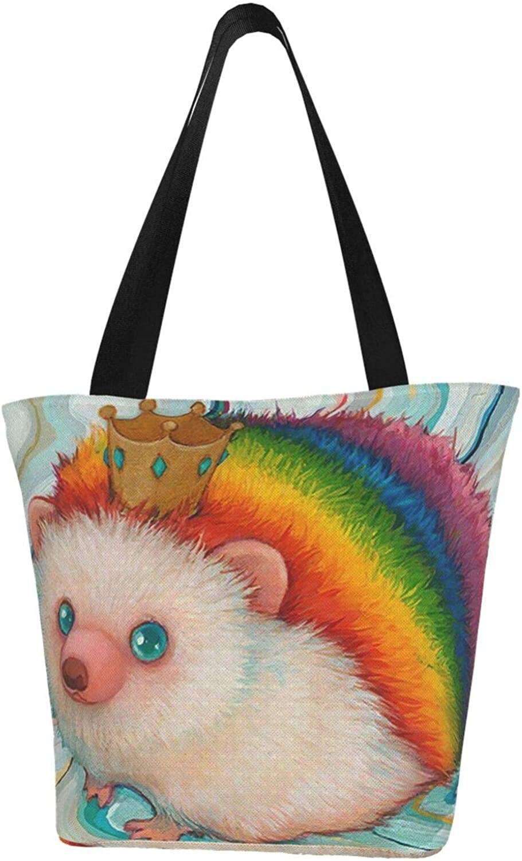 Cute Rainbow Hedgehog King Queen Themed Printed Women Canvas Handbag Zipper Shoulder Bag Work Booksbag Tote Purse Leisure Hobo Bag For Shopping