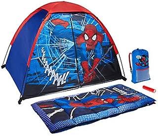 Marvel Ultimate Spiderman 4 Piece Kids Camp Kit - Indoor / Outdoor Play Tent, Sleeping Bag, Carry Sack & Flashlight