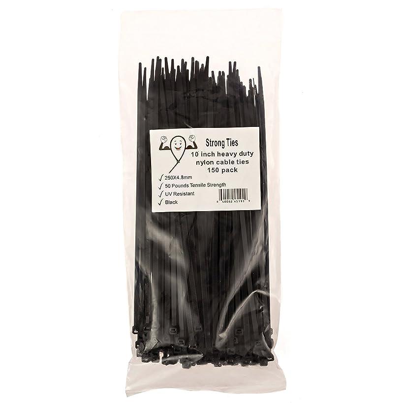 Strong Ties Altai-1 Cable Zip Ties, Premium Heavy Duty, Nylon Wire, 50 lb. Tensile Strength, Indoor Outdoor UV Resistant, Large, Black, 150 Piece