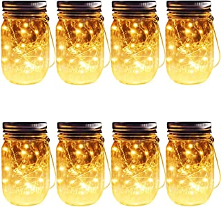 Hanging Solar Mason Jar Lights, 8 Pack 30 LEDs(Hangers & Jars Included) String Fairy Lights Glass Solar Laterns Table Lights,Outdoor Lawn Lamps Décor for Patio Garden,Yard,Floor,Steps and Deck