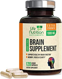 Brain Supplement Extra Strength Nootropics 1000mg - Made in USA - Natural Support for Memory, Focus, Concentration, and Cl...