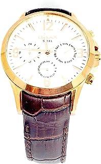 ساعة اوماكس للرجال - رياضية، متعددة الألوان، مينا ابيض - سوار من الجلد - مقاومة للماء - Beeb1241
