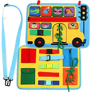 Busy Board Montessori Toys for Toddlers, School Bus Preschool Educational Learning Toy, Basic Life Skills and Fine Motor A...