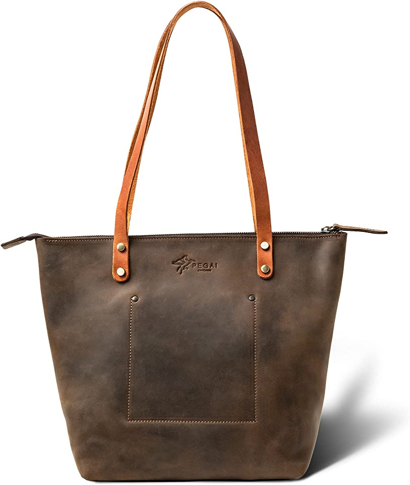 Personalized Leather Tote Bag for Women | Everyday Work Tote by PEGAI | Leather Purse | Shoulder Bag | LASALLE (Mini, Zipper, Chestnut)