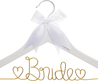Ella Celebration Bride to Be Wedding Dress Hanger, White Wooden and Orange Wire Bridal Hangers for Brides (White with Orange)