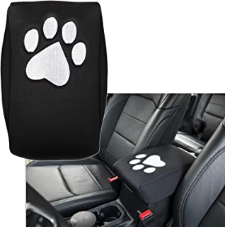 E-cowlboy Neoprene Center Console Armrest Pad Cover Black Dog Paw Print Protector Cushion for 2011-2018 Jeep Grand Cherokee